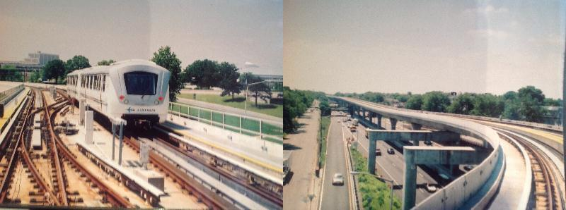 [New York]These two views show the JFK Skytrain in action. The first shows the automatically controlled unstaffed vehicles operating on traditional track that operate singly or in pairs taken from the front of an Airtrain vehicle. The second, also taken through the front window shows the elevated infrastructure over a freeway. This system is  designed for speed as can be seen from the photograph running at 3-minute headways at 60mph with no staff on board