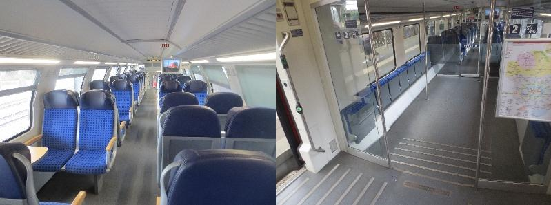 [Berlin]Considerable investment into comfortable air conditioned bi-level Regional Express trains. The pictures show the seats in upper level and downstairs the large space for bikes, prams and wheelchairs. These trains compare very favourably with regional trains in Britain which are generally cramped with little provision for these items