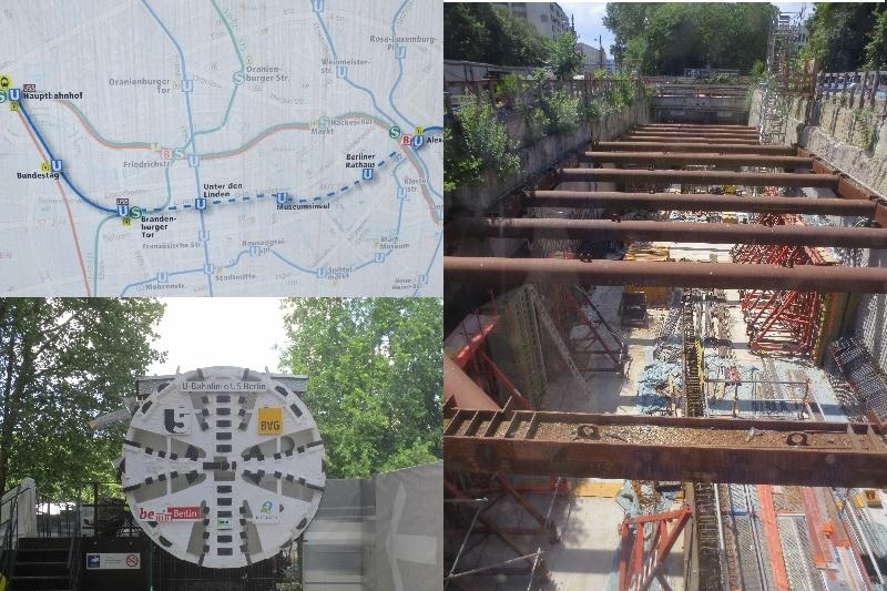 [Berlin]The map shows the U5 extension from Alexanderplatz to the new Hauptbanhhof station. The BVG has gone to great lengths to mitigate the disruption by a visitor centre in the form of a tunnel boring machine (shown) and hoardings round the work sites describing the work. The station box shown at Rathaus station. The Crossrail station boxes in London looked much the same at this stage