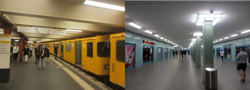 [Berlin]The old 2-car S-Bahn trains (shown) are gradually being replaced by walk-through Overground inward facing bench seat designs. Alexanderplatz interchange station shows the former East Berlin style architecture, plain, not cluttered and functional and actually in a world of station