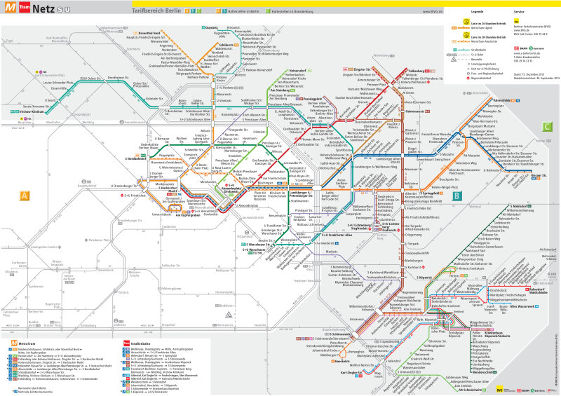 [Berlin]Map of Berlin's extensive Metrotram and Tram system concentrated on the former East Berlin section of the city