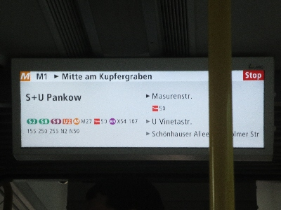 [Berlin]The picture shows an example of a good passenger information showing next stop and connections but also showing the next three or four stops, particularly useful in allowing people to be prepared to alight.