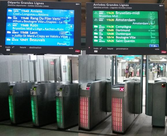 Transport systems in Paris make use of colour to aid passengers by allowing them to make decisions more quickly. The train information screens use a blue background for departures and green for arrivals. On barriers green means enter and red means exit.