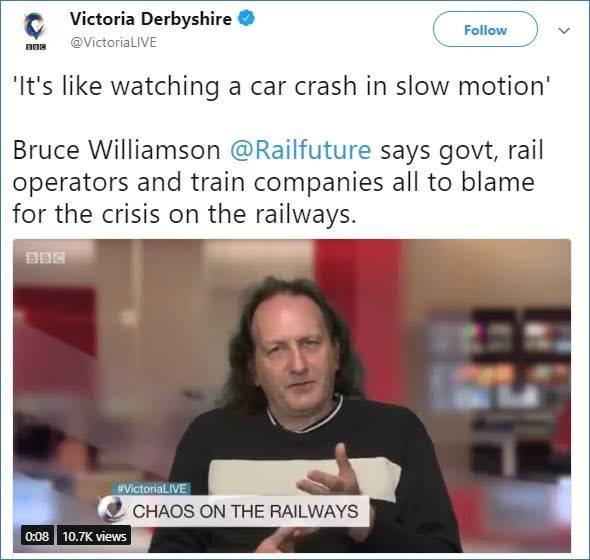 Tweet of photo of Bruce Williamson on the BBc's Victoria Derbyshire programme describing timetable chaos as a