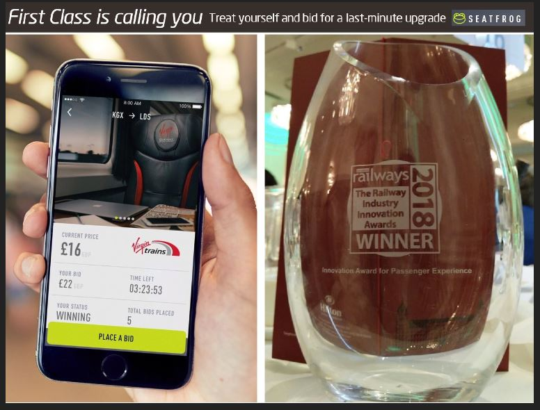 Virgin Trains East Coast introduced the ability to places bid for a first-class upgrade using the Seatfrog mobile app and this award-winning innovation has been retained by its successor, LNER