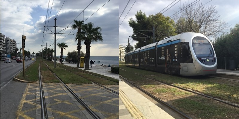 The modern all low floor Athens tram system runs from the city centre along the Aegean Coast. Well worth a ride to see best practice in terms of integration into the urban realm.