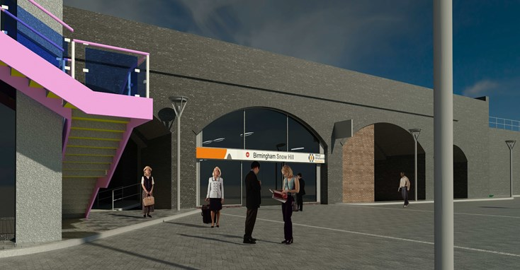 Graphic showing the new third entrance at Snow Hill station, in Birmingham, which will provide easy interchange with the West Midlands Metro trams