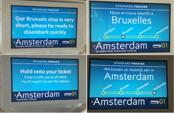 Each carriage on the new (e320) or refurbished (e300) Eurostar trains shows information on screens, including the next stop. Unfortunately, it is rather basic, and is not real-time so it does not say how soon before arrival is expected or provide any information about connections