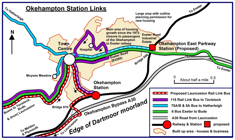 Okehampton Station Links Sketch Map showing simplified 2020 bus services and suggested additions where the coloured line has a centre dash.