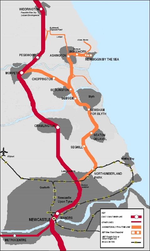 One of the key Railfuture campaigns in the North East (shared with local rail user group SENRUG) is to reinstate passenger services on the freight-only Ashington Blyth railway line - this map shows the route
