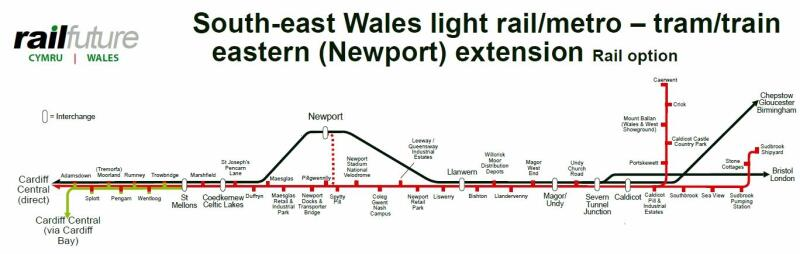 Route map produced by Railfuture Wales of a possible extension of rail services to provide a light-rail metro system or tram-train in south-east Wales